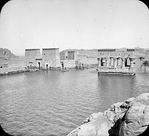 Pre-sixties Image of the Temple of Philae at flood stage, prior to move to Aglikia