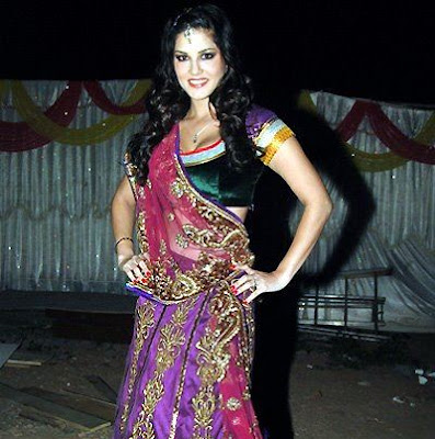 Indian Pictures of Sunny Leone in Indian Ghagra Choli Dress