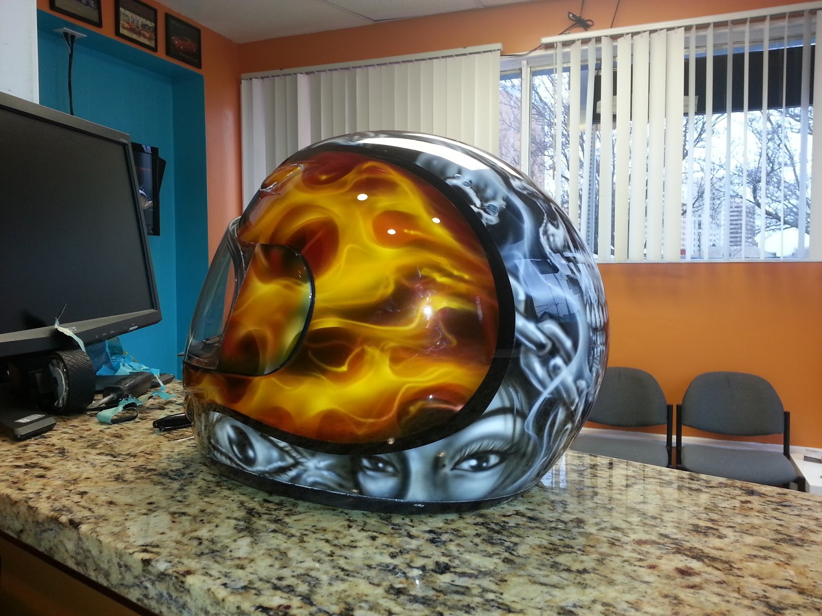 DEZ Customz  Custom Painted True Fire and Skulls Helmet