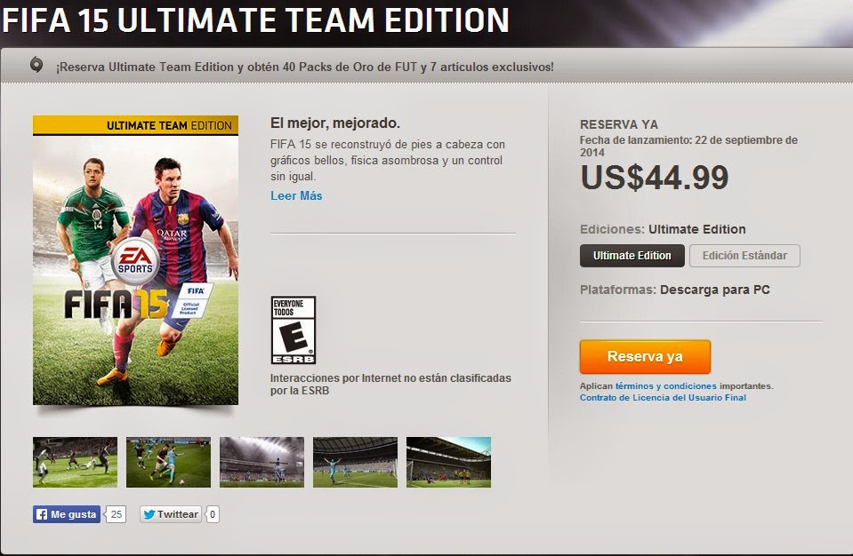 Buy Cheapest FIFA 15  Ultimate Edition From Origin Store With Mexico VPN