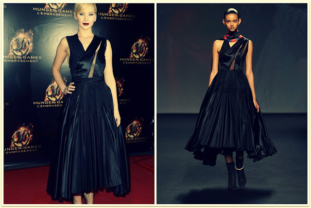 Jennifer Lawrence con vestido negro de la colección alta costura de Dior