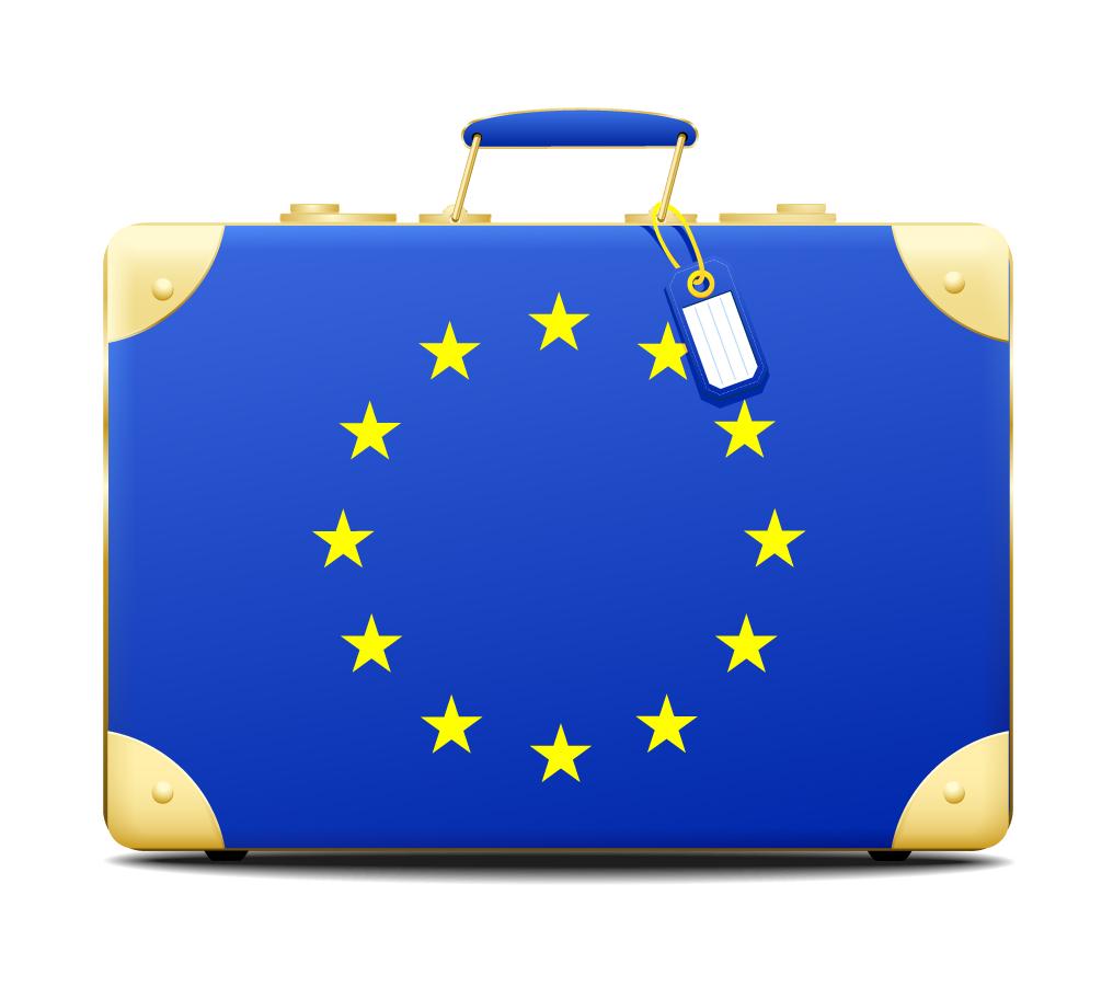 欧州連合の旗をデザインしたトラベルバッグ Europe symbols travel boxes イラスト素材