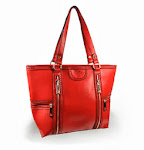 Leather-like large red handbag
