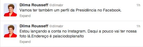Presidente Dilma Rousseff no Twitter - 500x166