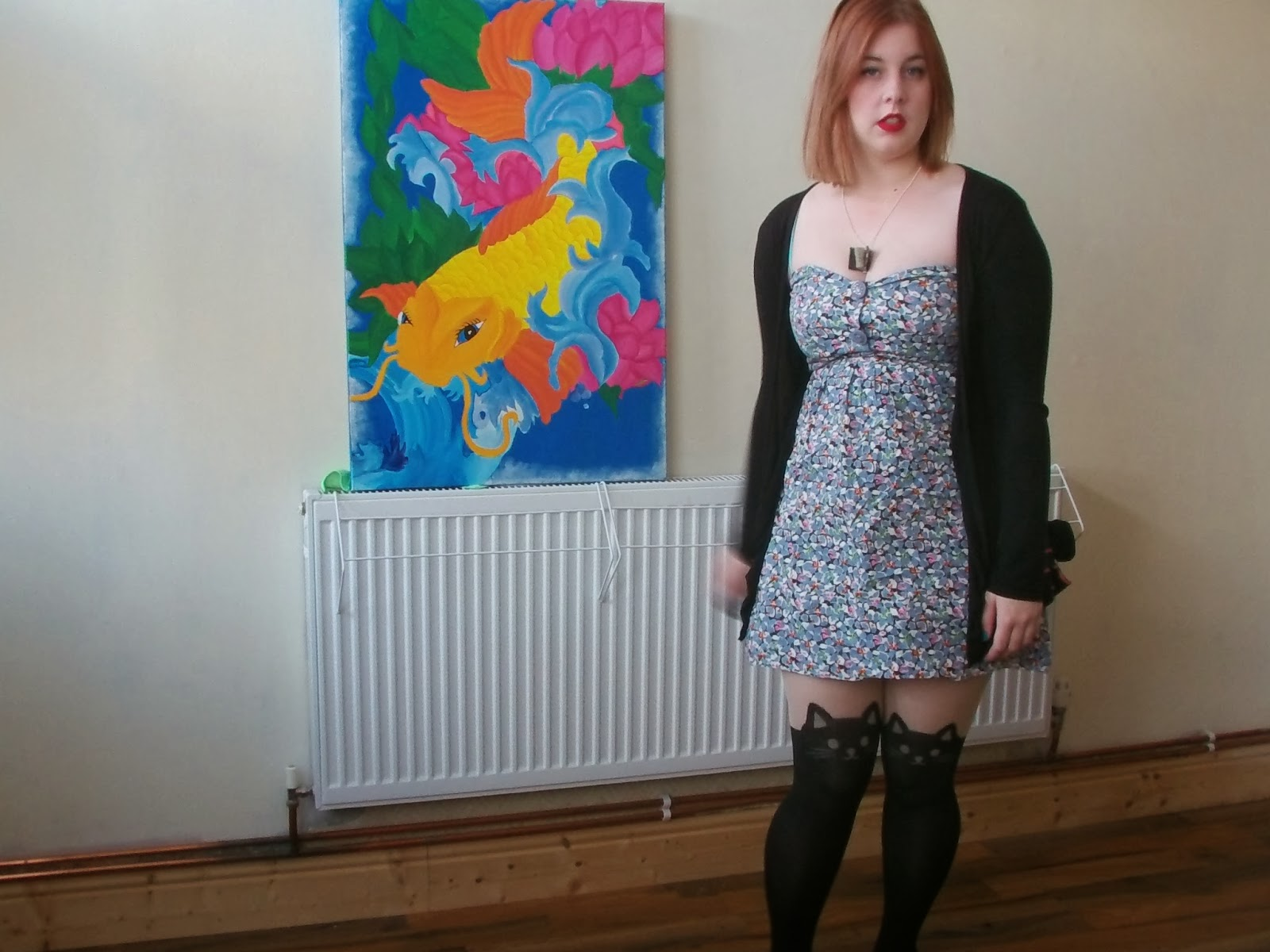 floral dress, cat tights