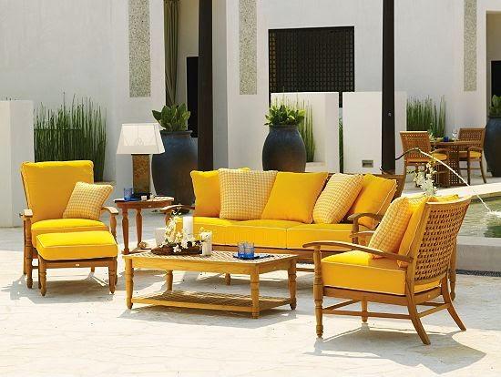 muebles para patio jardin en color amarillo patios y