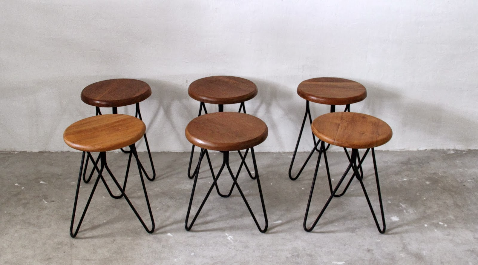 Vintage Inspired Stools With Hair Pin Legs.