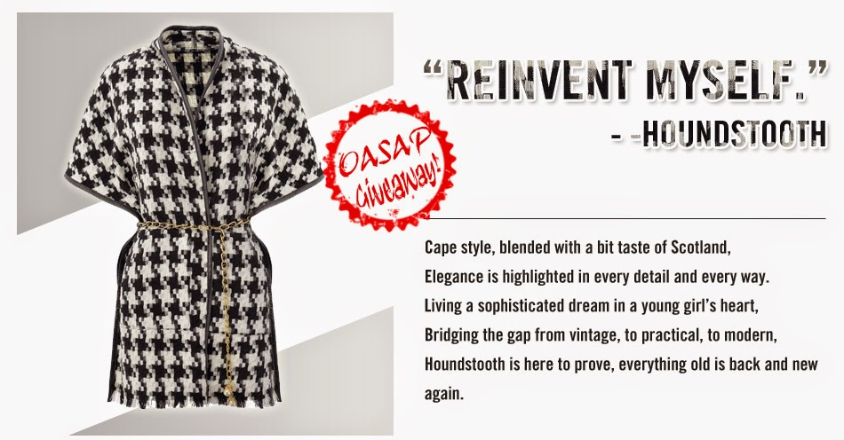 oasap giveaway, oasap cape, houndstooth cape, coat giveaway, cape giveaway, giveaway,