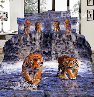 Tiger in Water 3D Print 4 Piece Bedding Sets/Duvet Cover Sets
