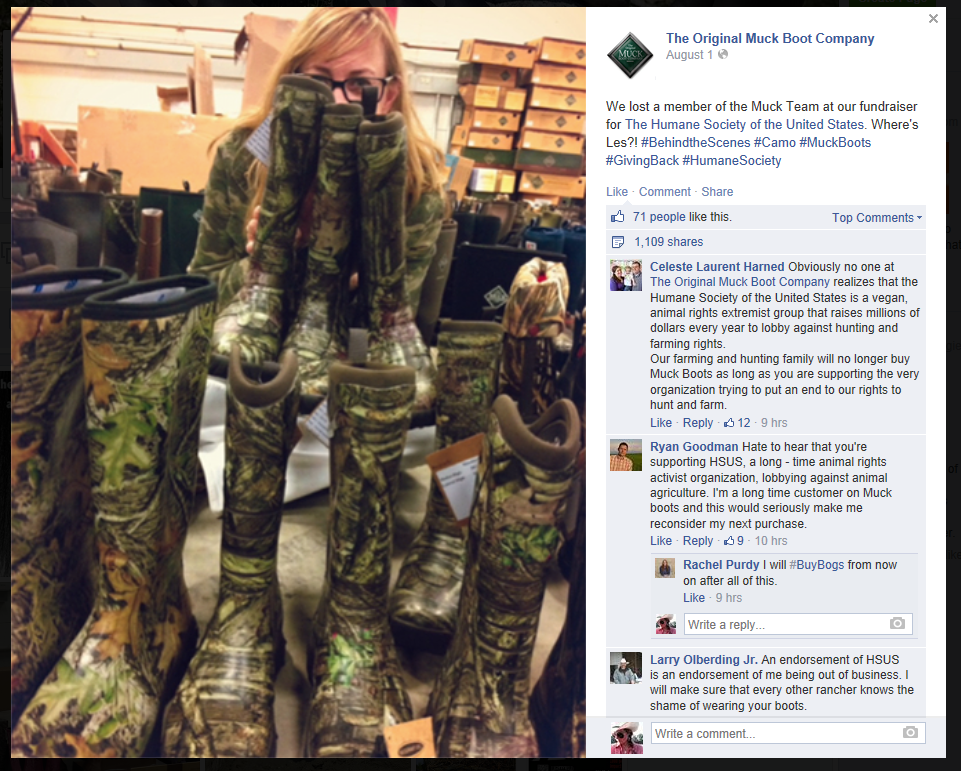 Original Muck Boots Company donates to Humane Society of United States
