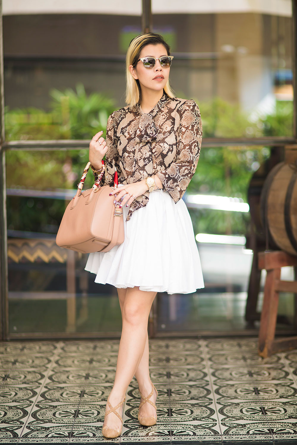 Crystal Phuong- Fashion Blogger- Raye the label shoes & snake skin blouse