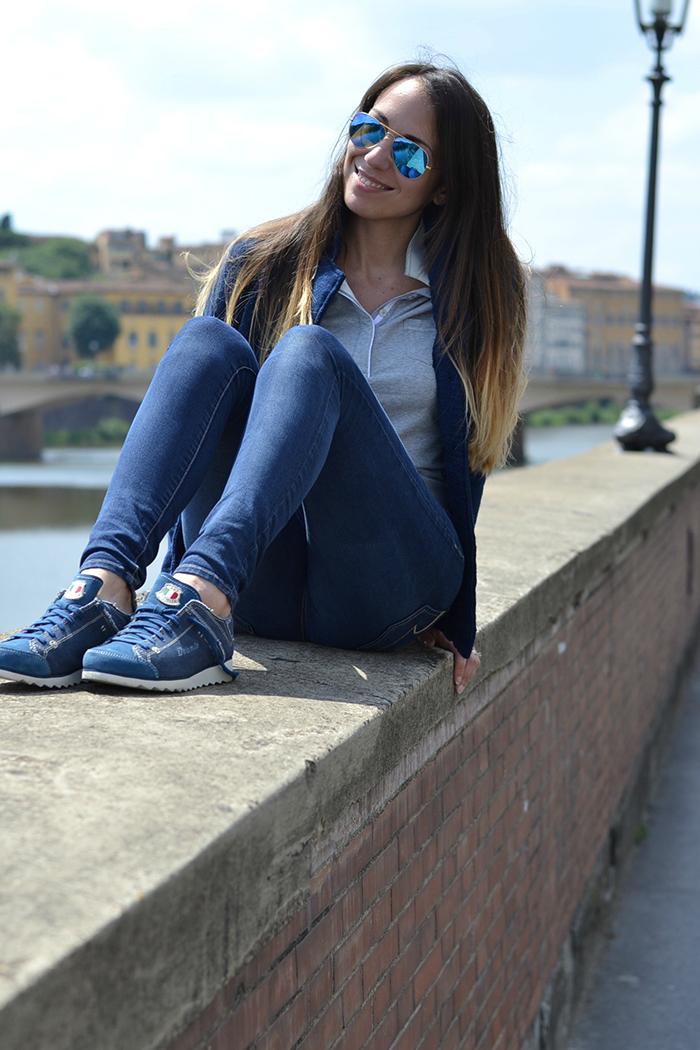 jeans sneakers blu
