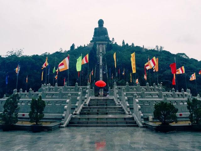 The Big Buddha in the cold and the rain, Lantau Island, Hong Kong