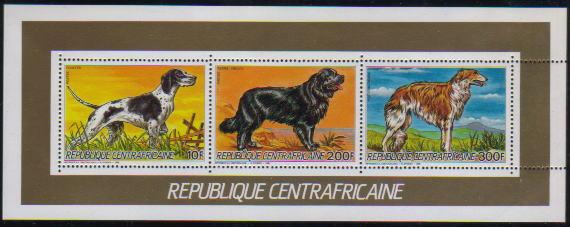 1986年中央アフリカ共和国 ポインター ニューファンドランド ボルゾイの切手シート
