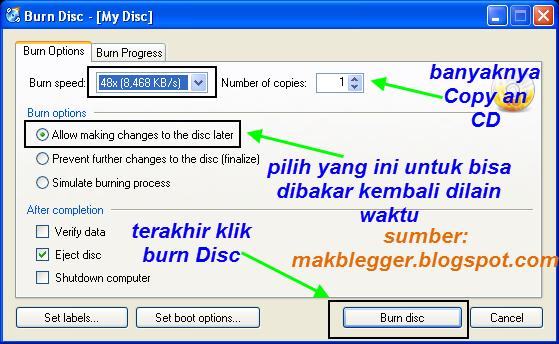 konfigurasikan semua pengaturan, lalu klik Burn Disk untuk membakar