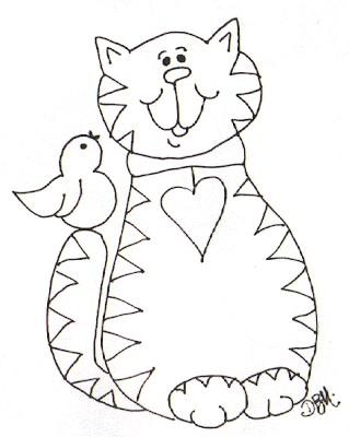 Riscos para pintura infantil de gato e passarinho