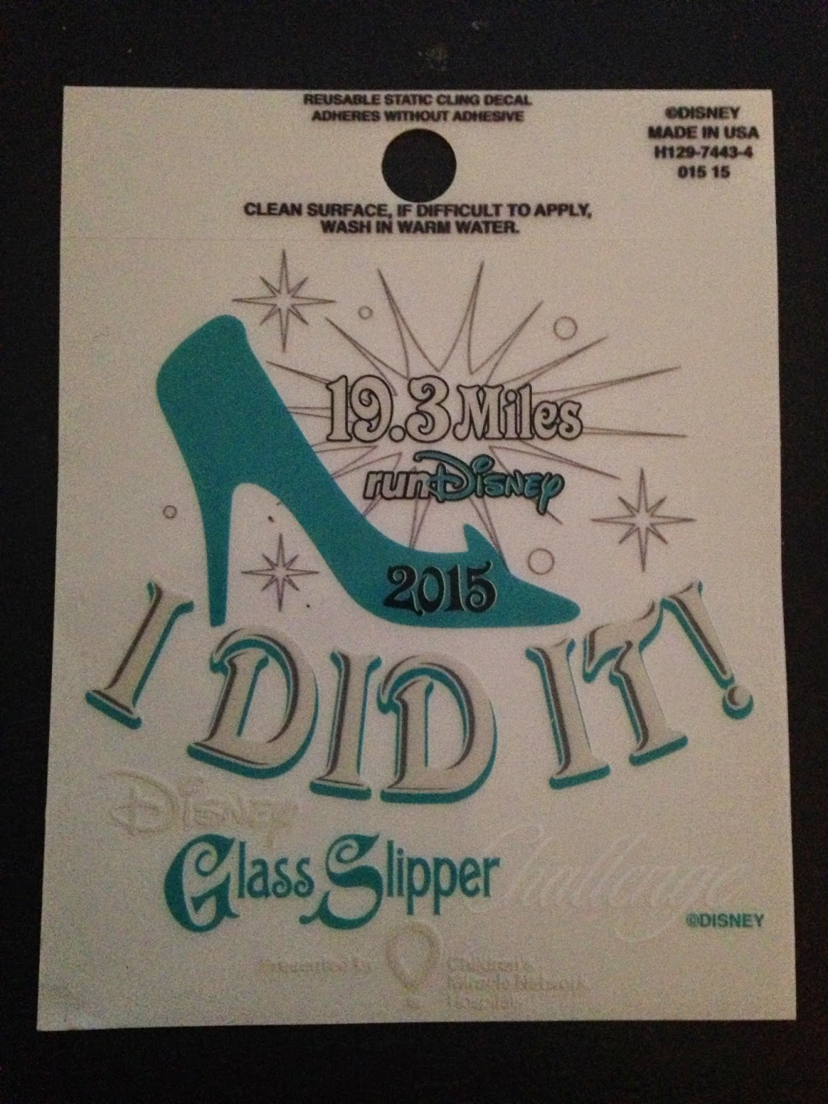 Window Decal Sticker NEW Run Disney Glass Slipper Challenge 2015 19.3 I DID IT