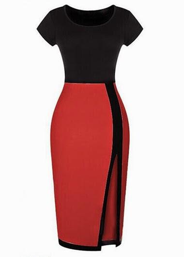 Vestido Casual Cuello Redondo, Mangas Cortas y Falda con Abertura
