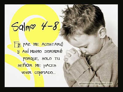 Postales cristianas arte en cristo salmo 4 8 en paz for En paz me acostare