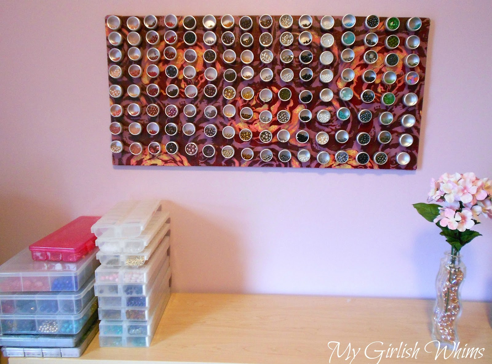 Magnetic craft board - Bead Organization Fabric Covered Magnet Board
