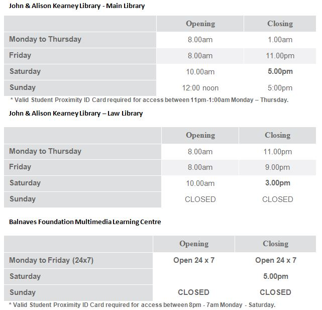 Click to view opening hours on the library website
