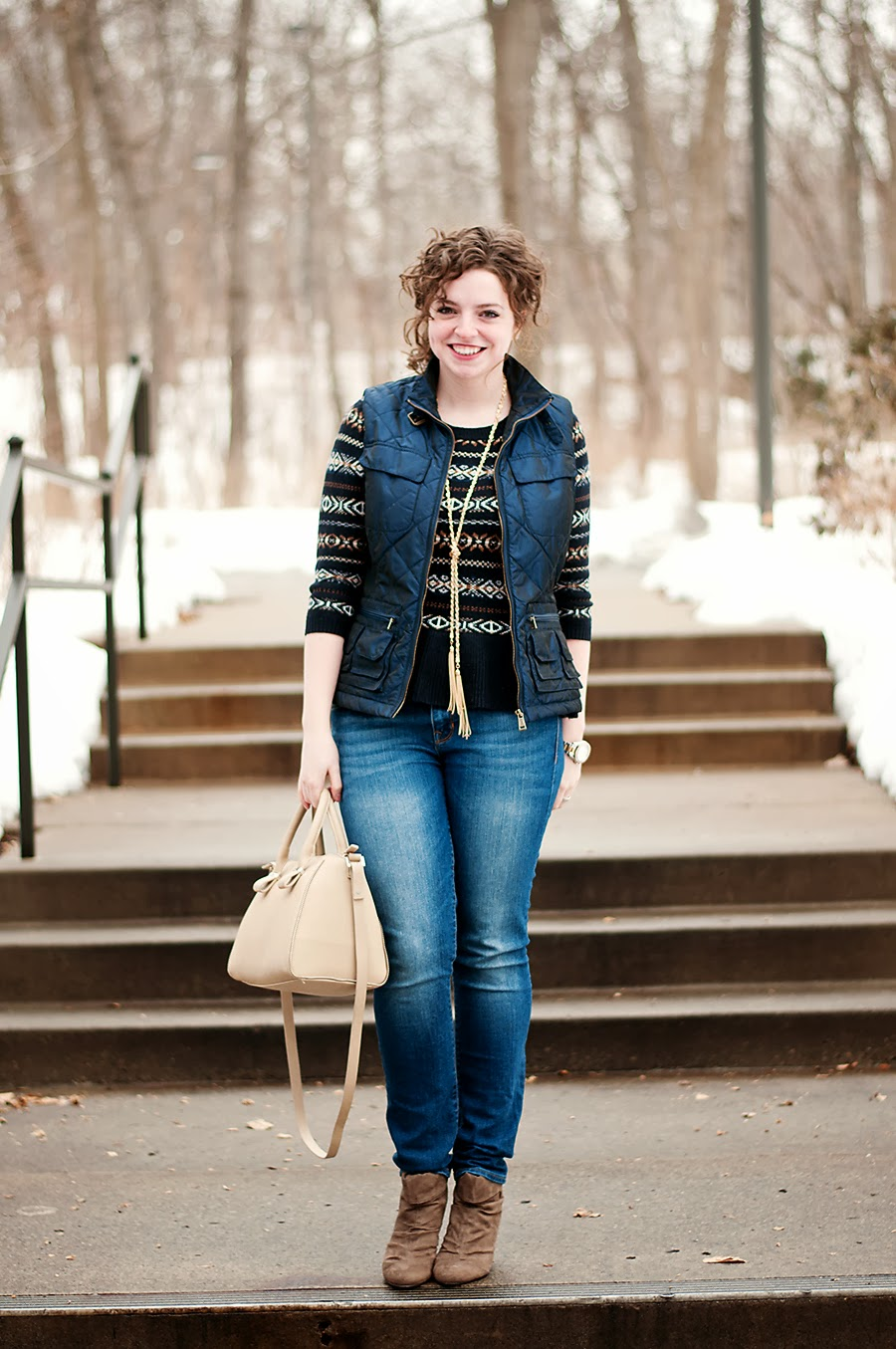 Layered Fair Isle Sweater with Puffer Vest