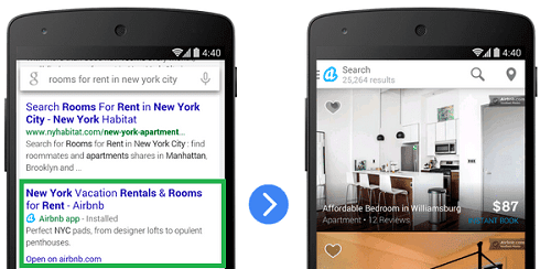 Tampilan dari App Indexing pada google mobile search