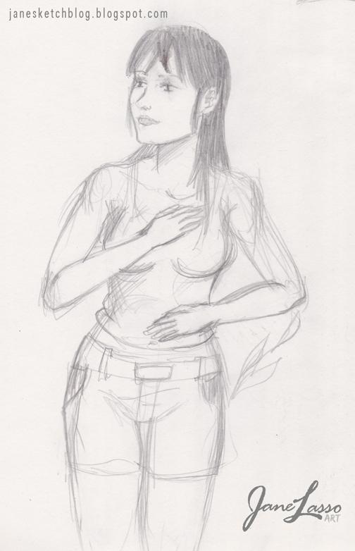Dibujo rápido de chica en lápiz