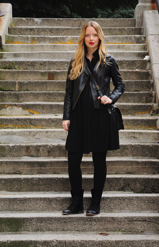 black leather jacket with black combo boots