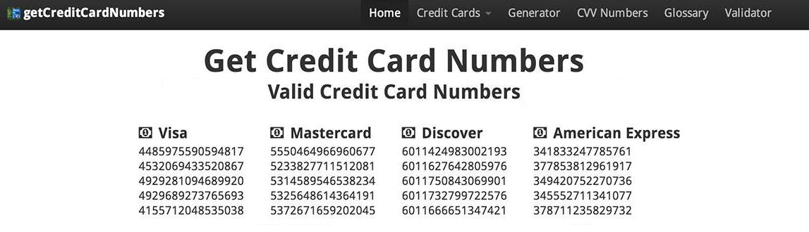 credit card number list with cvv