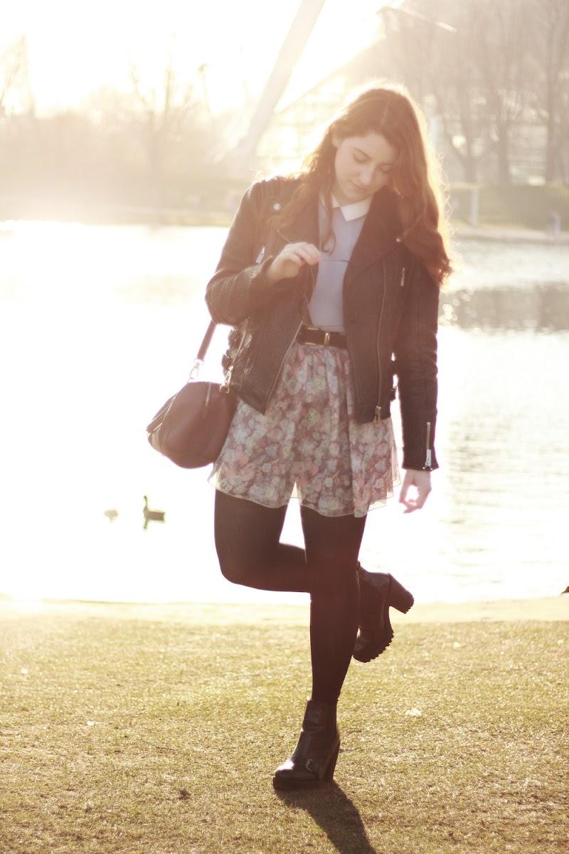 american apparel floral chiffon skirt