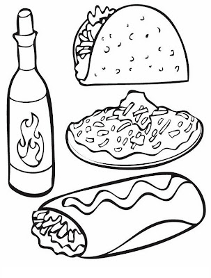 Comida mexicana para colorear y pintar 4 dibujo for Platillos franceses faciles