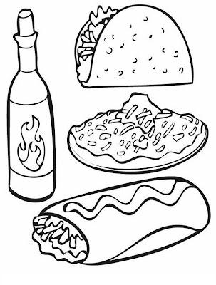 comida mexicana para colorear y pintar