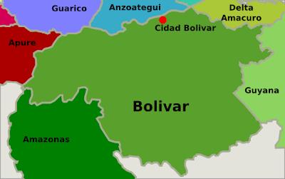 Mapa de Bolívar Venezuela