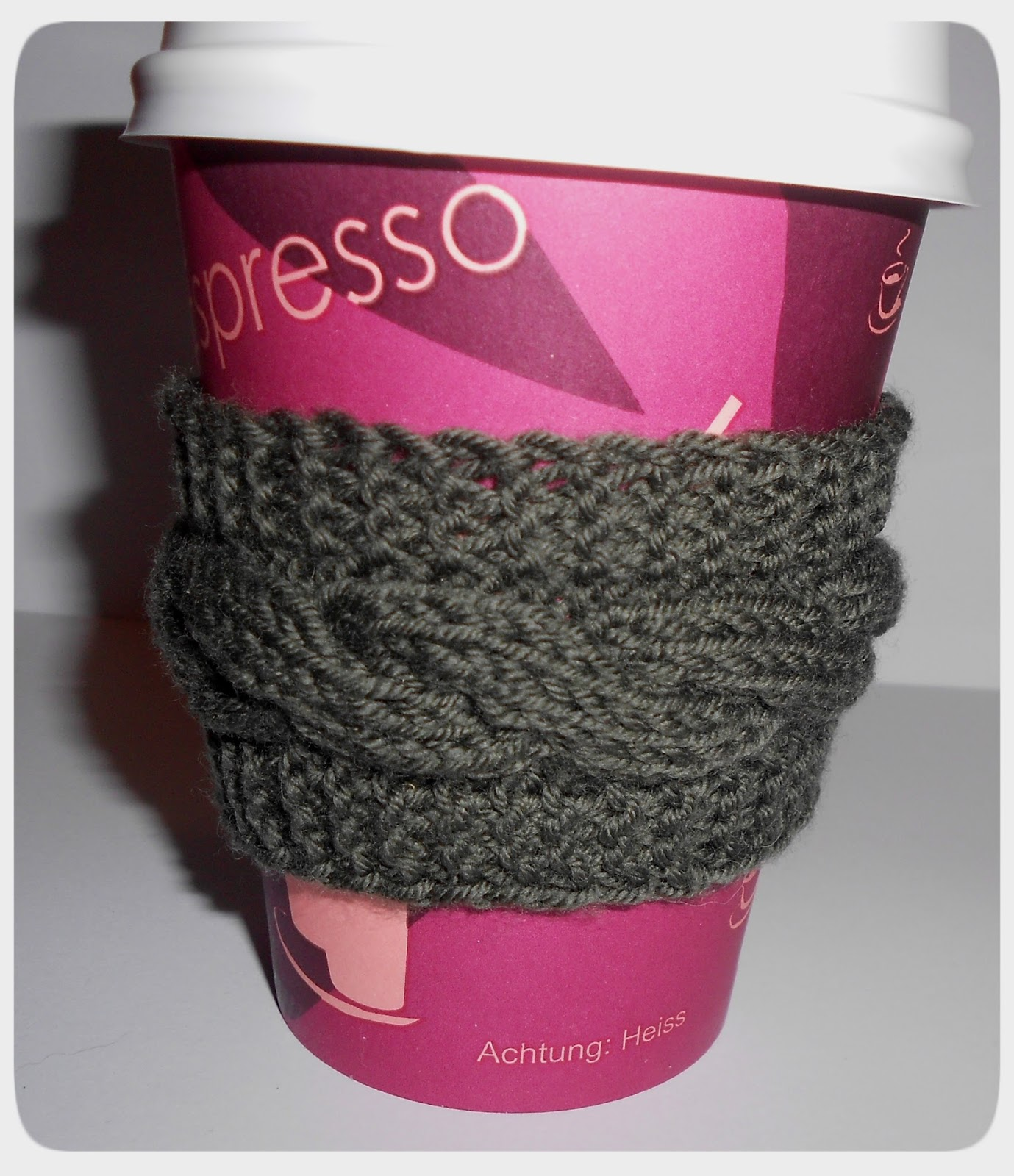 Woollen Thoughts: Cabled Coffee Cup Cozy
