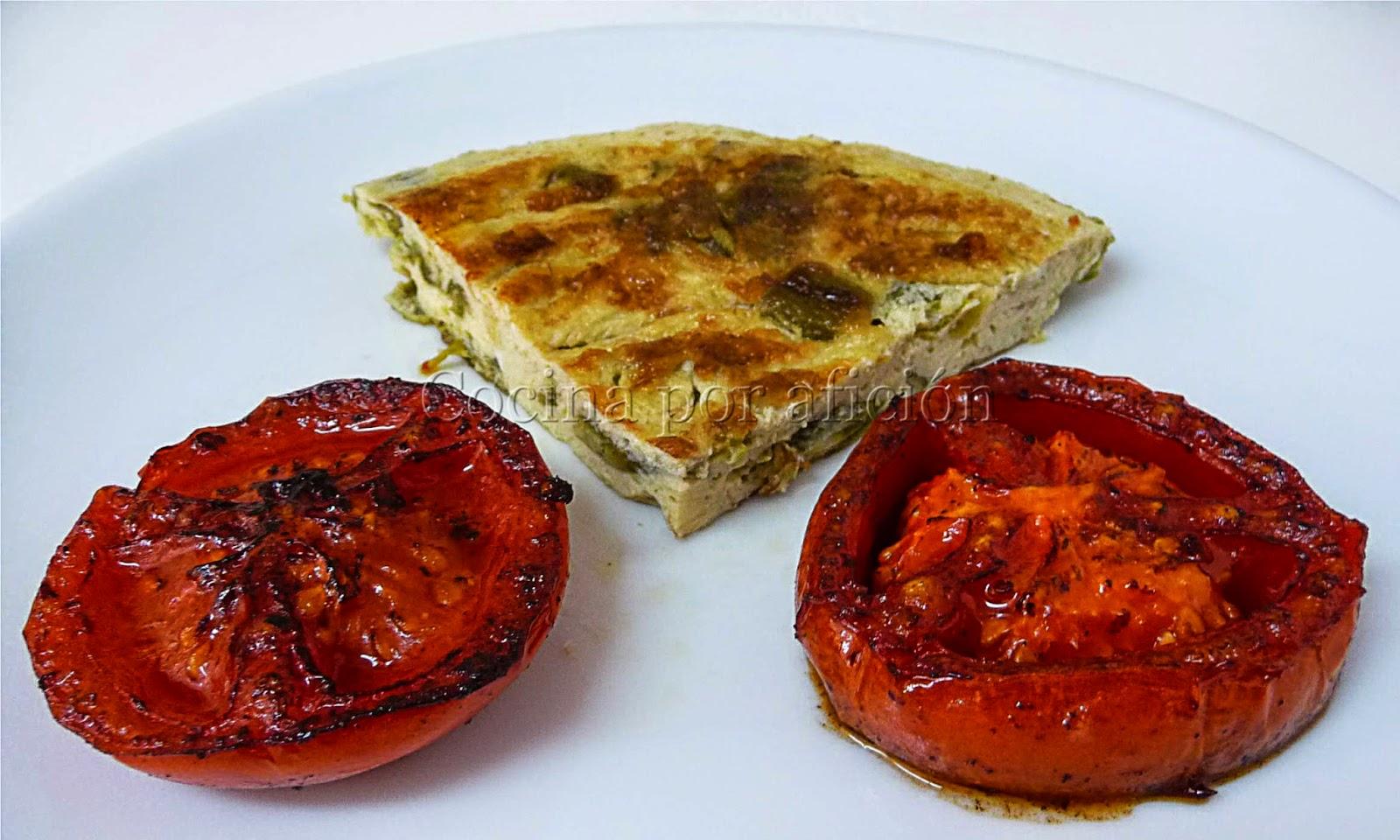 huevos, pimientos, tomate