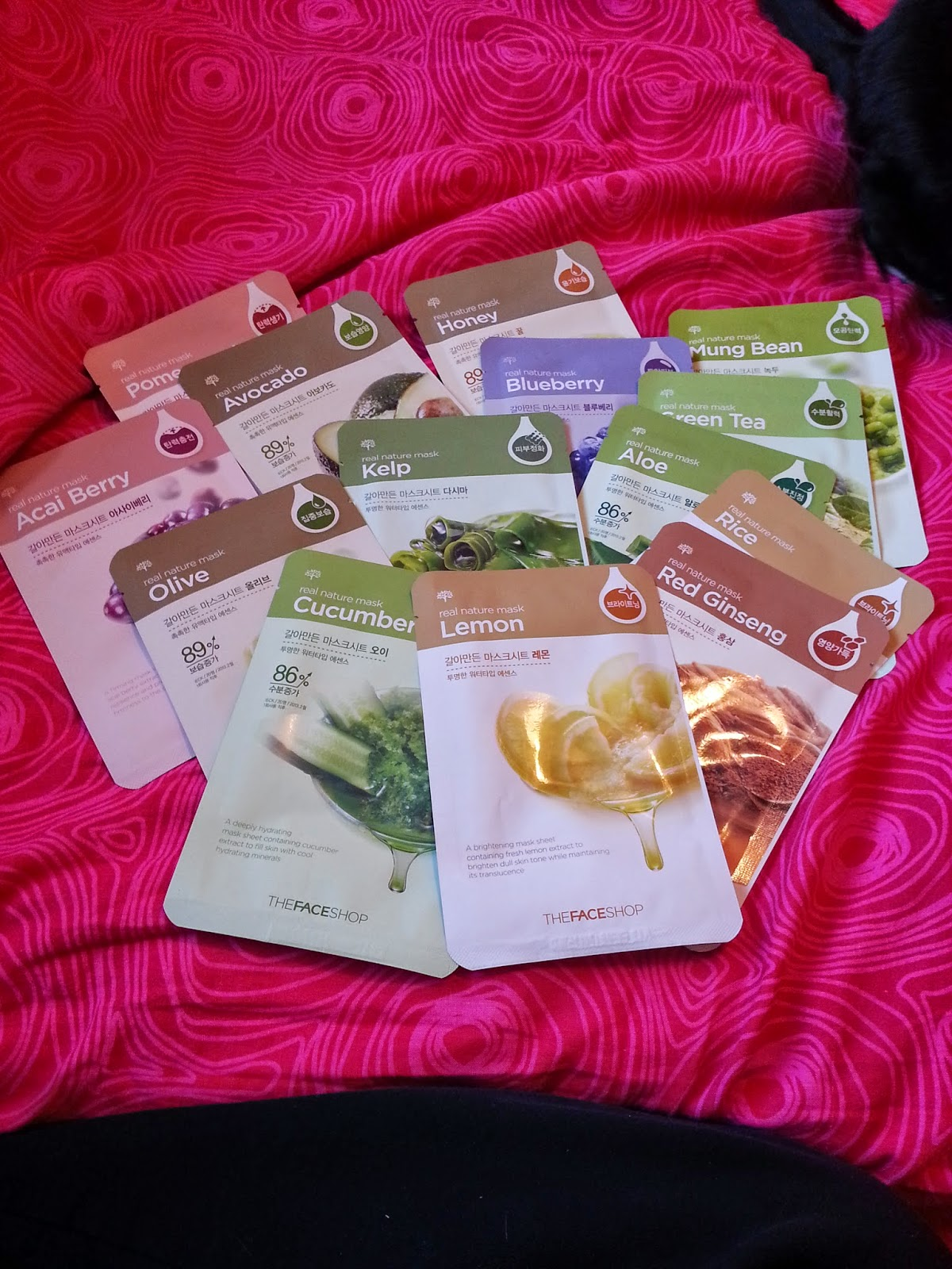 Deidres Discoveries The Face Shop Mask Haul Real Nature Sheet Kelp Excuse Cat Tail He Just Had To Be In Way Even After I Nudged Him A Few Times Ordered Multi Pack And They Are All From