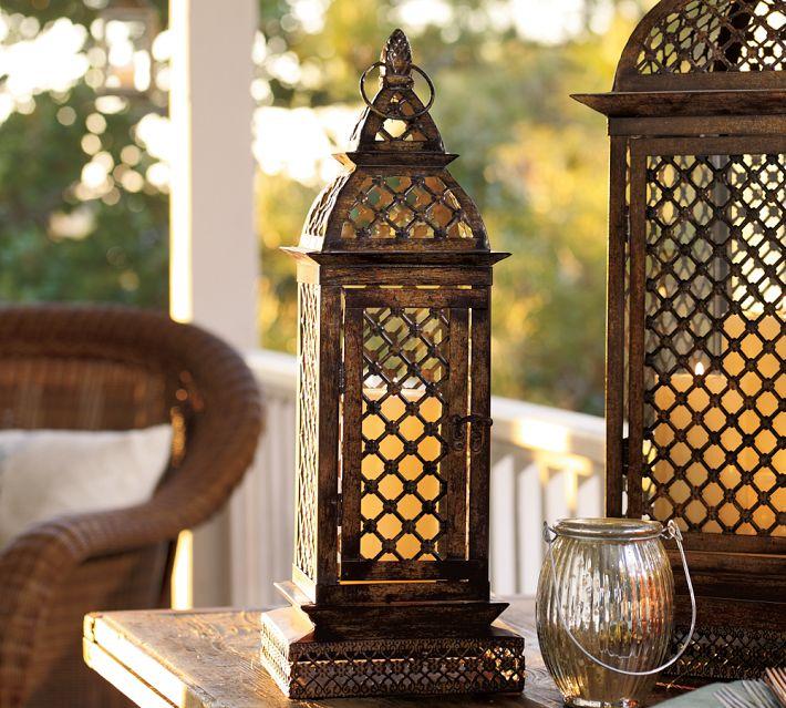 pottery barn casablanca filigree metal lantern - Decorative Lanterns