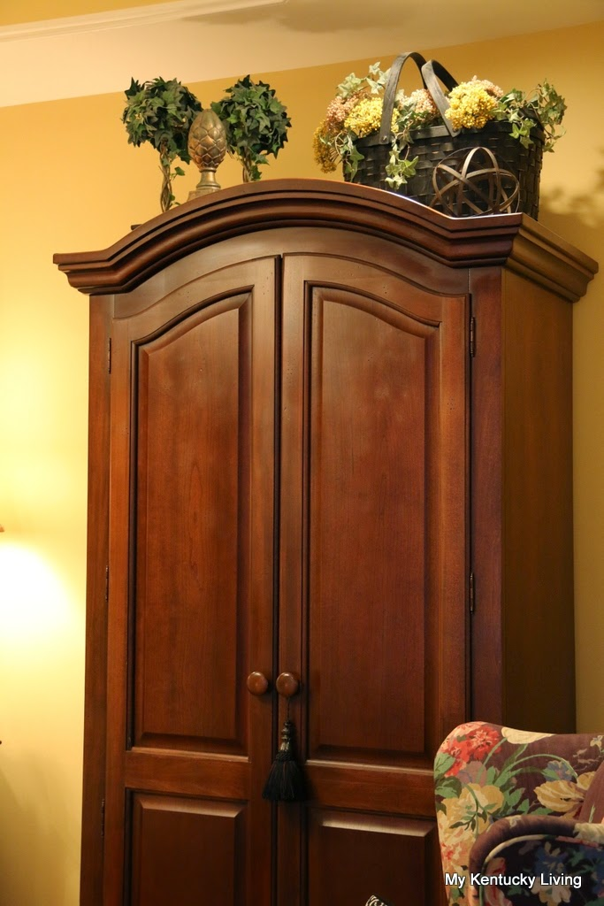 I Love This Cherry Armoire. I Have A Small Tv In The Top And Storage  Shelves In The Bottom. This Armoire Has A Wooden Rod For The Top So That  The It ...