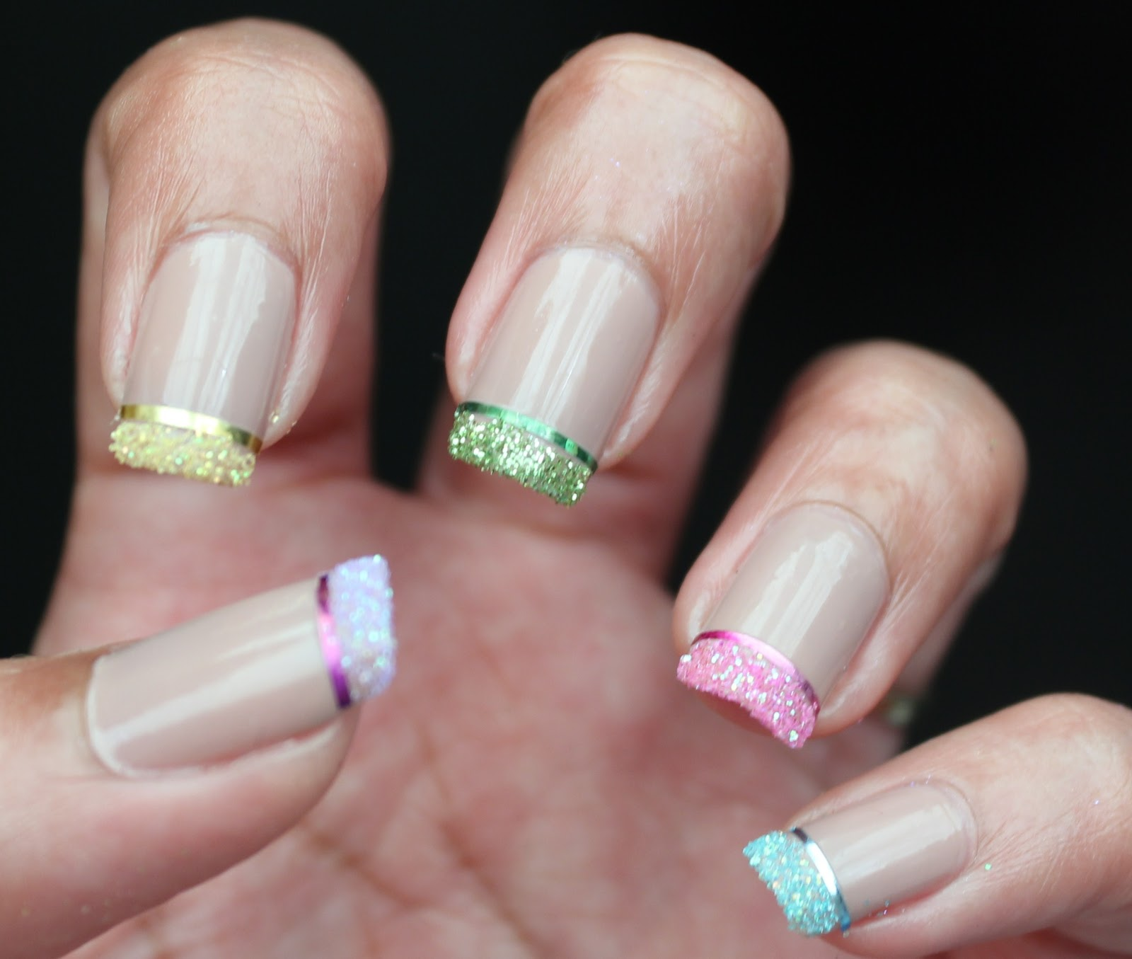French Nail Art With Glitter