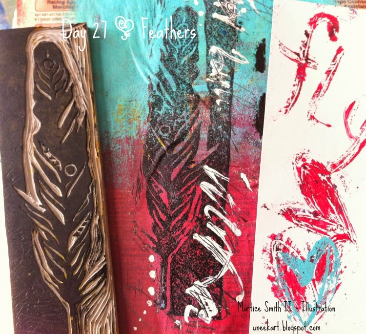 Hand carved feather stamp, gelli print and bookmark by Martice Smith II