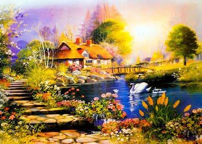 Dibujo creativo de una casita de campo con plantas y flores junto al lago de los cisnes