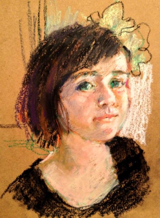 Connie chadwells hackberry street studio a little smile a little smile original oil pastel portrait sketch ccuart Images