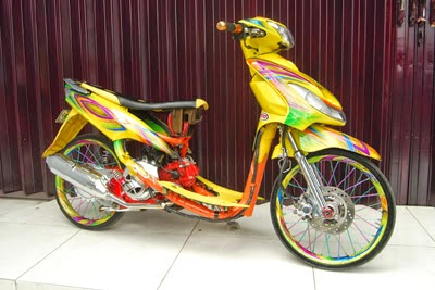 modifikasi mio sporty warna kuning  paling bagus