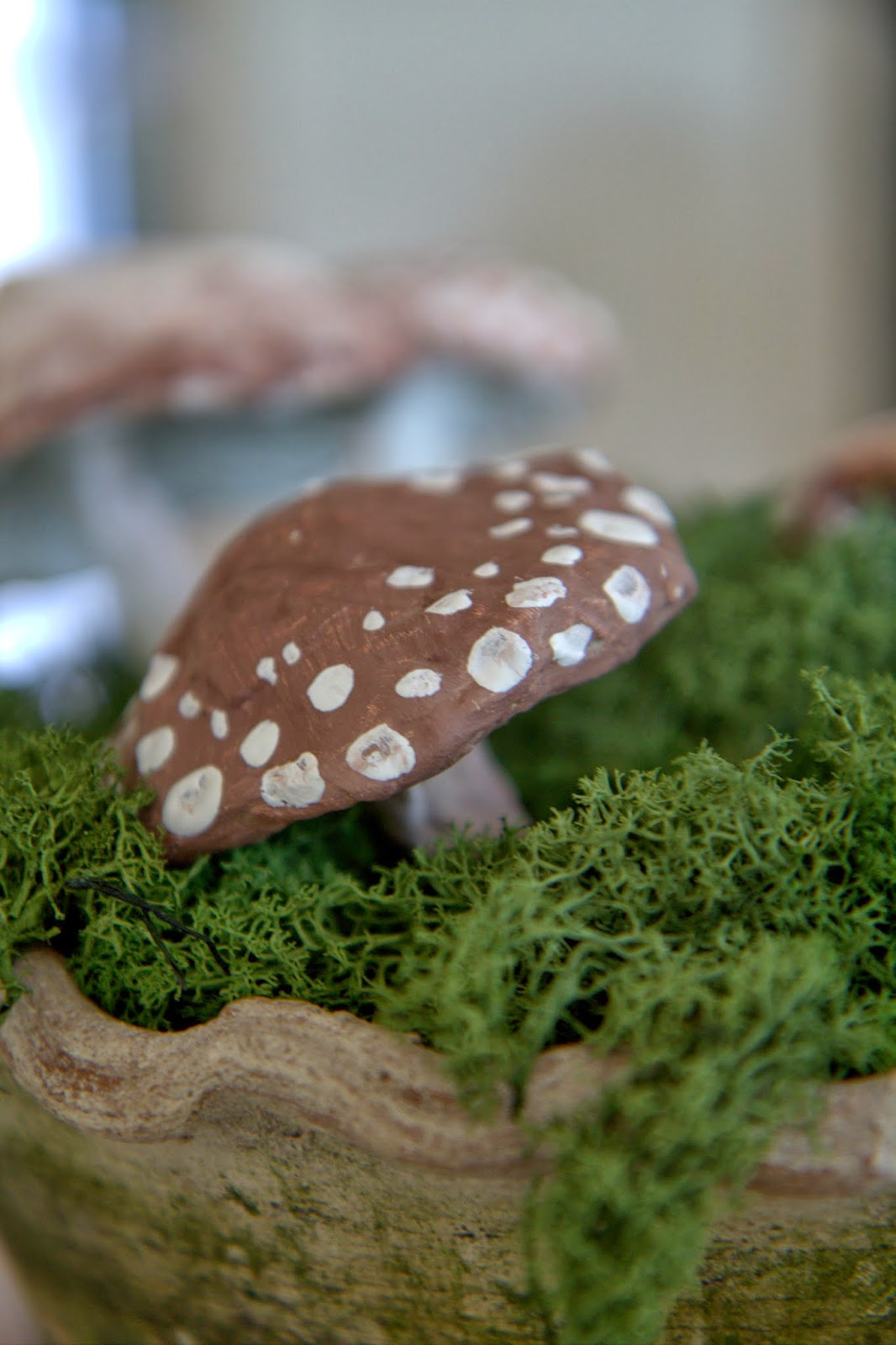 Paper Mache Mushrooms in Moss 4