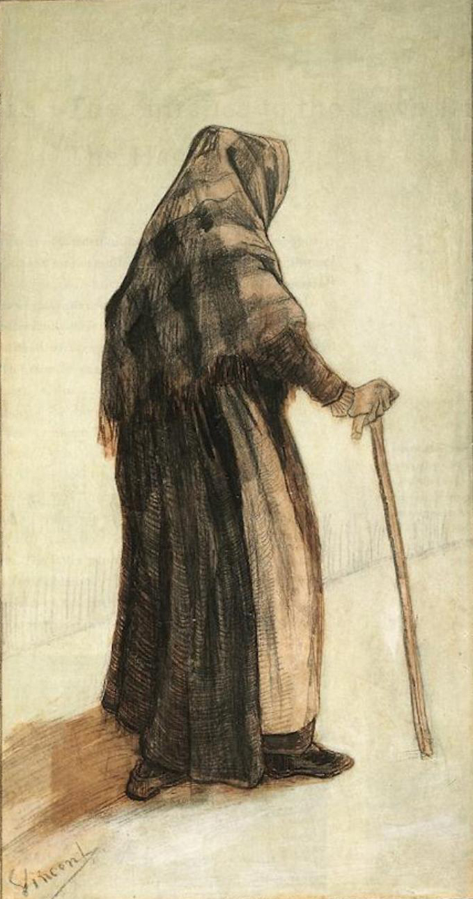 art artists vincent van gogh drawings part  1882 old w a shawl and a walking stick pencil pen and ink and watercolour on paper