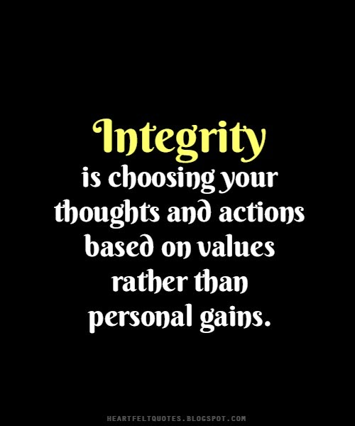 personal integrity Personal integrity we will live in a manner that inspires trust and confidence, bearing the fruit of the spirit and seeking to manifest the character of christ in all our behavior.