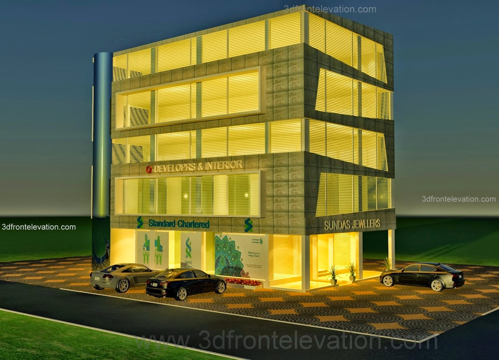 Front Elevation Building Construction : D front elevation corner commercial plaza offices shops design in sector c