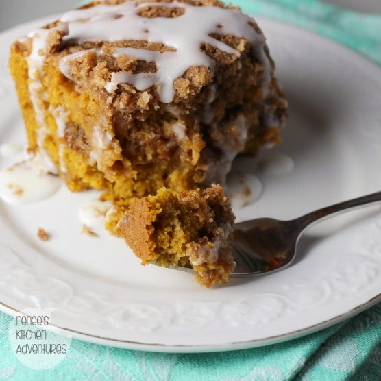 Pumpkin Cinnamon Streusel Coffee Cake:  Pumpkin, cinnamon, pecans and streusel inside and out!