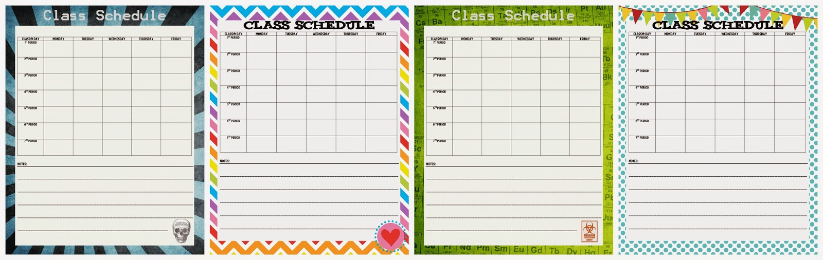 junior high class schedule printable free time frolics